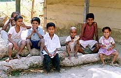 Children at an IHO vaccination site