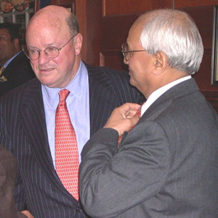 Former U.S. Ambassador to India Frank Wisner (left) spoke
